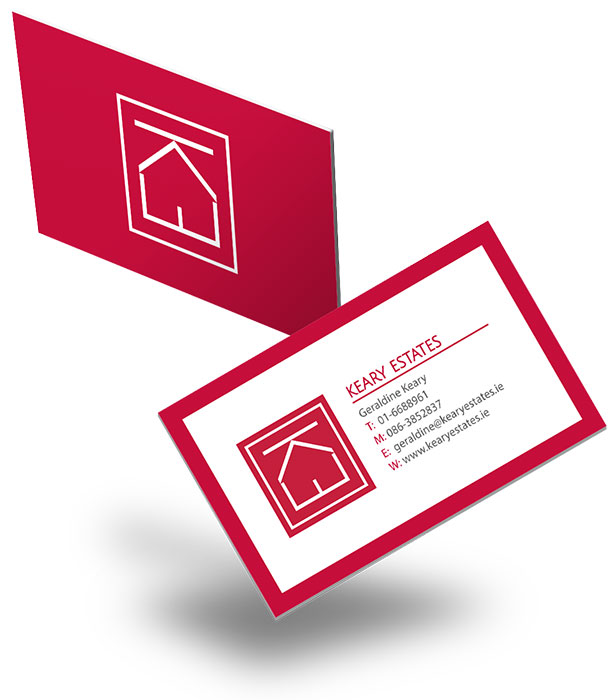 red business cards design for a real estate company