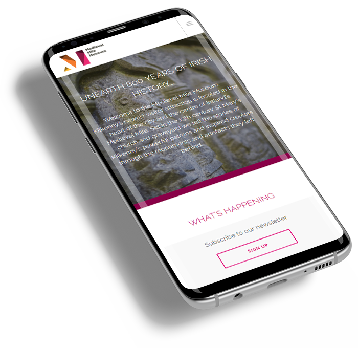 Responsive website for Medieval Mile Museum viewed on a phone