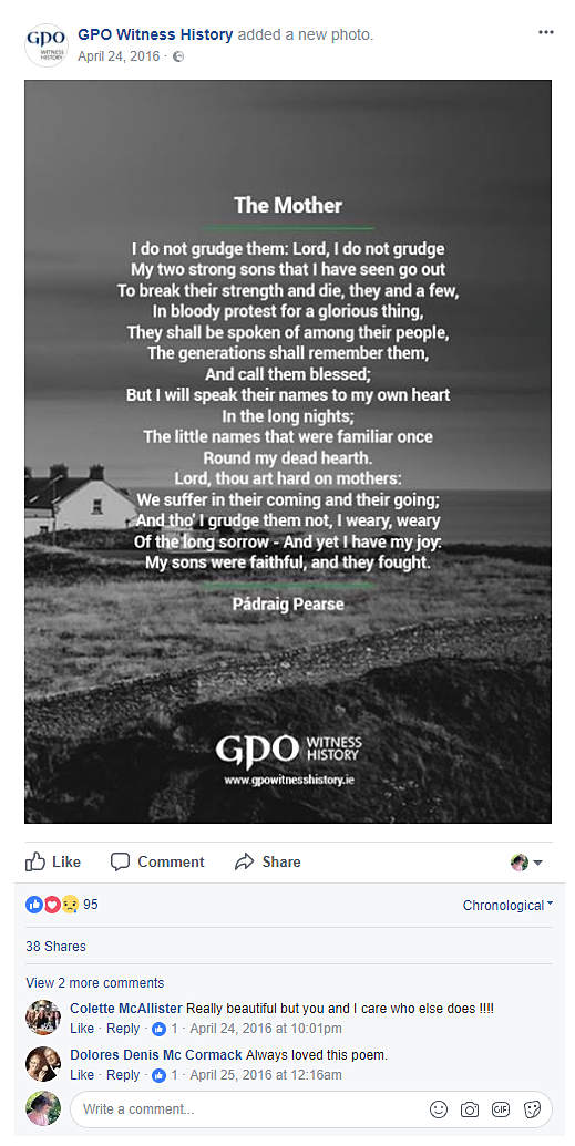 Example of social media post. Poem by Padraig Pearse written on black and white image of Ireland, for GPO Witness History