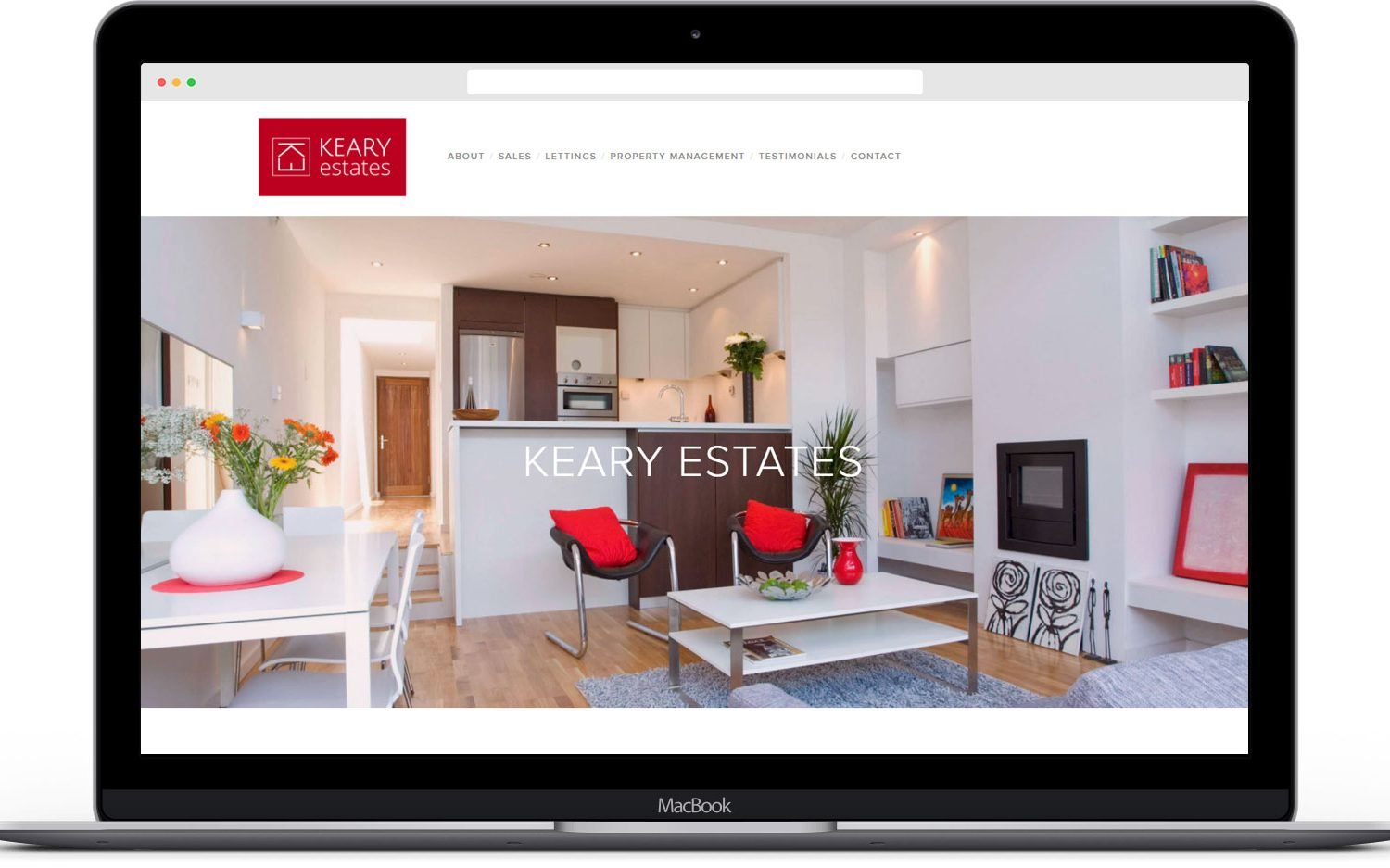 Responsive website for Keary Estates viewed on a laptop