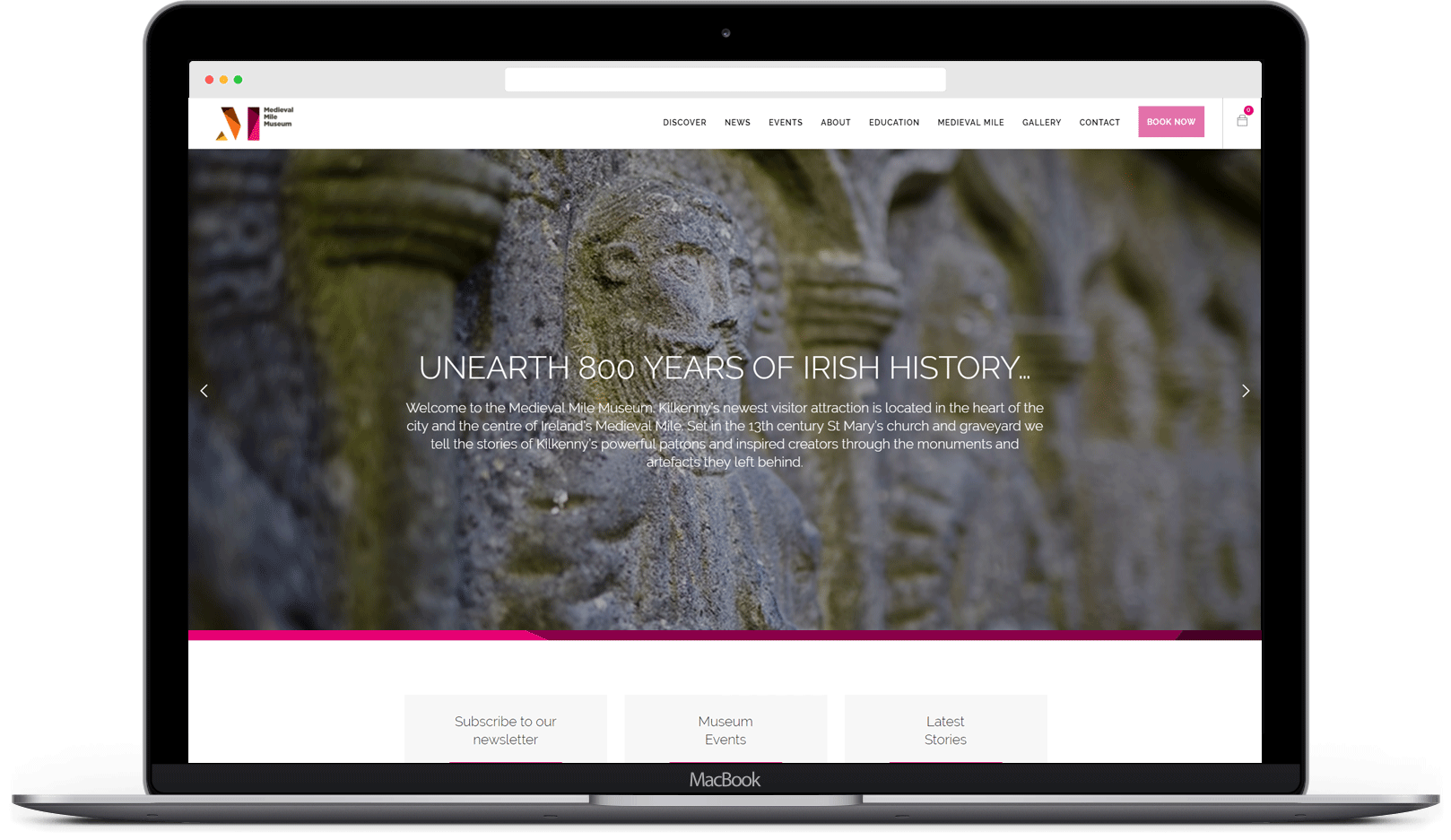Responsive website for Medieval Mile Museum viewed on a laptop