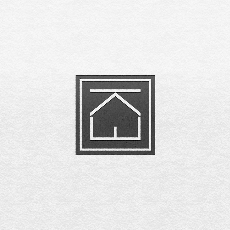 Logo design for Keary Estates. Initials K and E are forming a sign in the shape of a house.