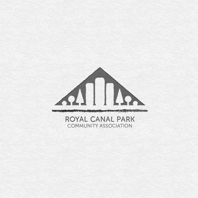 Logo design for Royal Canal Park Community Association in Dublin. Silhouette of buildings and treeline, with river underneath.