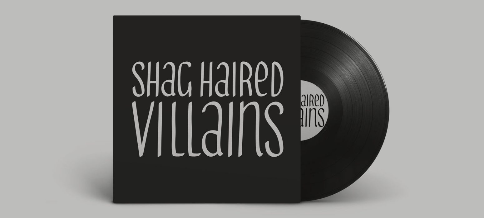 Mockup of a logo on a record cover for a band Shag Haired Villains